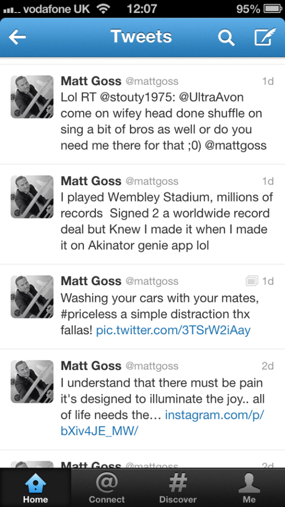 2013 Matt Goss Tweet